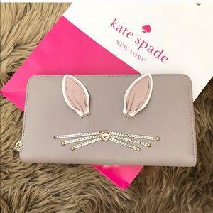 New Kate spade New York Neda rabbit bunny wallet